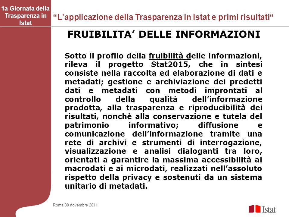Lapplicazione della Trasparenza in Istat e primi risultati 1a Giornata della Trasparenza in Istat FRUIBILITA DELLE INFORMAZIONI Sotto il profilo della