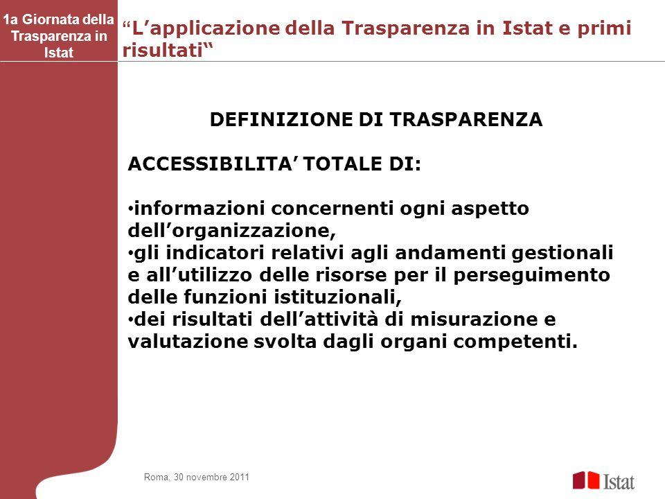 Lapplicazione della Trasparenza in Istat e primi risultati 1a Giornata della Trasparenza in Istat Roma, 30 novembre 2011 DEFINIZIONE DI TRASPARENZA AC