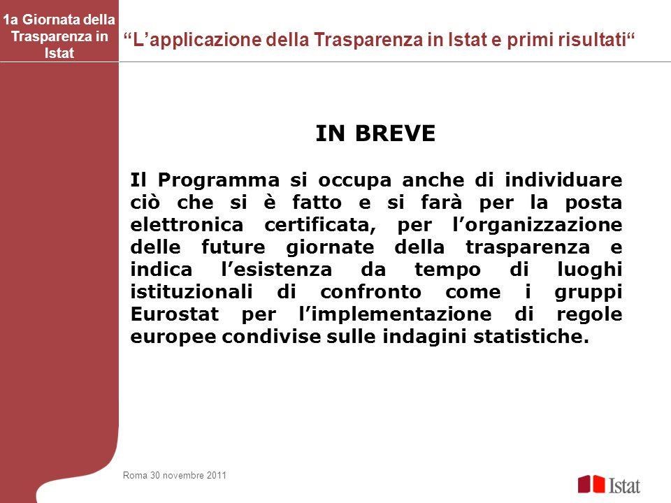 Lapplicazione della Trasparenza in Istat e primi risultati 1a Giornata della Trasparenza in Istat IN BREVE Il Programma si occupa anche di individuare
