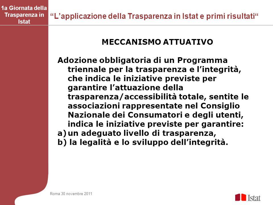 Lapplicazione della Trasparenza in Istat e primi risultati 1a Giornata della Trasparenza in Istat MECCANISMO ATTUATIVO Adozione obbligatoria di un Pro