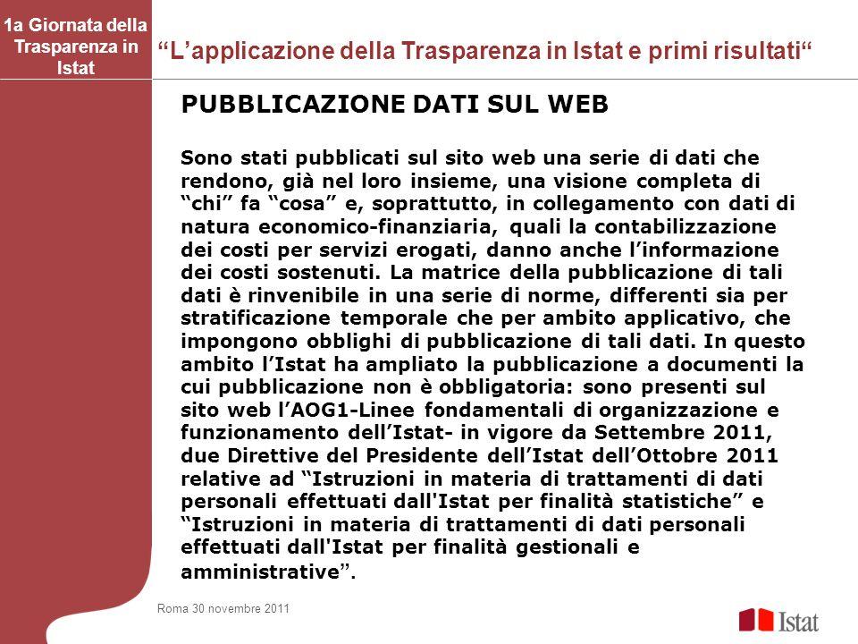 Lapplicazione della Trasparenza in Istat e primi risultati 1a Giornata della Trasparenza in Istat Sono stati pubblicati sul sito web una serie di dati