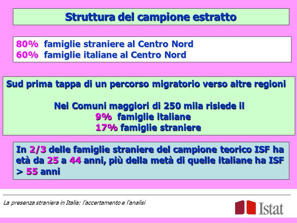 Struttura del campione estratto 80% famiglie straniere al Centro Nord 60% famiglie italiane al Centro Nord Sud prima tappa di un percorso migratorio verso altre regioni Nei Comuni maggiori di 250 mila risiede il 9% famiglie italiane 17% famiglie straniere In 2/3 delle famiglie straniere del campione teorico ISF ha età da 25 a 44 anni, più della metà di quelle italiane ha ISF > 55 anni ____________________________________________________________________________________________ La presenza straniera in Italia: laccertamento e lanalisi