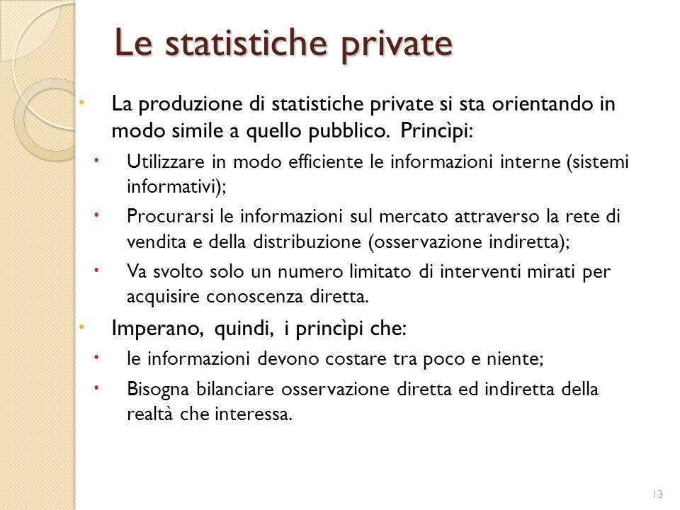 13 Le statistiche private La produzione di statistiche private si sta orientando in modo simile a quello pubblico. Princìpi: Utilizzare in modo effici