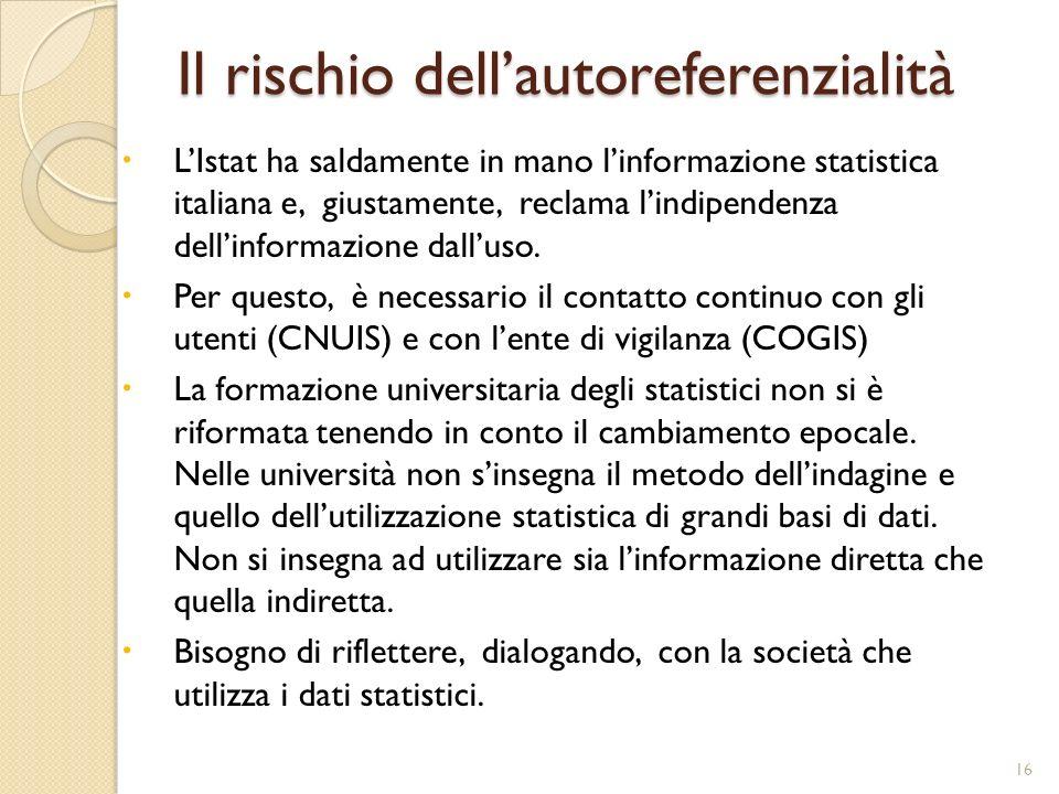 Il rischio dellautoreferenzialità 16 LIstat ha saldamente in mano linformazione statistica italiana e, giustamente, reclama lindipendenza dellinformaz