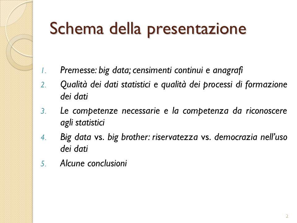 2 Schema della presentazione 1. Premesse: big data; censimenti continui e anagrafi 2. Qualità dei dati statistici e qualità dei processi di formazione