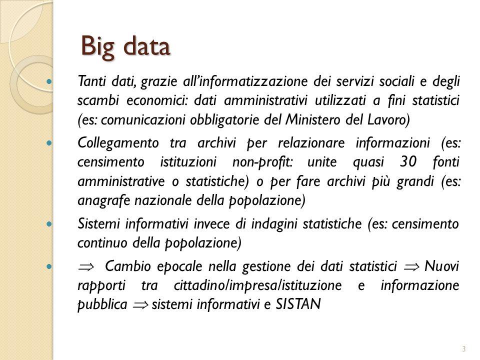 3 Big data Tanti dati, grazie allinformatizzazione dei servizi sociali e degli scambi economici: dati amministrativi utilizzati a fini statistici (es: