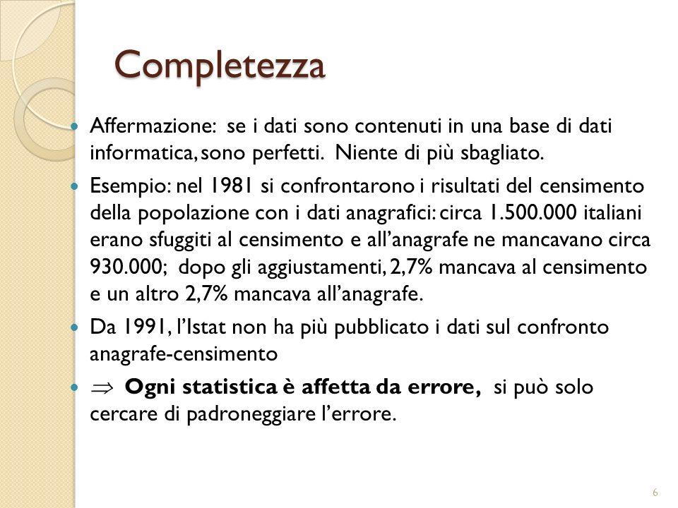 Completezza Affermazione: se i dati sono contenuti in una base di dati informatica, sono perfetti. Niente di più sbagliato. Esempio: nel 1981 si confr