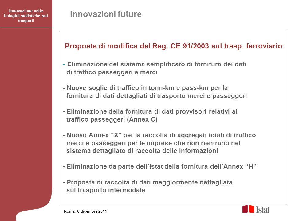 Roma, 6 dicembre 2011 Innovazione nelle indagini statistiche sui trasporti Proposte di modifica del Reg. CE 91/2003 sul trasp. ferroviario: - Eliminaz