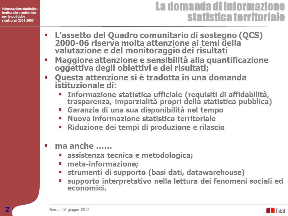 Informazione statistica territoriale e settoriale per le politiche strutturali 2001-2006 Il Progetto Informazione statistica territoriale e settoriale per le politiche strutturali 2001-2006 Roma, 16 giugno 2010 3 Nasce da una stretta e proficua collaborazione tra lIstat, lattuale Dipartimento per lo sviluppo e la coesione economica e lUval Sono stati congiuntamente stabiliti obiettivi, metodi e strumenti, ma nel rispetto dellautonomia dellIstat Il Progetto ha visto impegnate varie strutture dellIstat dal 2001 al 2009 A garanzia dellinteresse istituzionale il Progetto è stato co-finanziato dallIstat per il 30% dellimporto previsto (3,05 M Fondi Strutturali e 1,31 M Istat) Riferisce allObiettivo 4 del PON ATAS: Incrementare linformazione statistica e delle variabili orizzontali, per migliorare la misurabilità degli effetti dei programmi strutturali; …………..