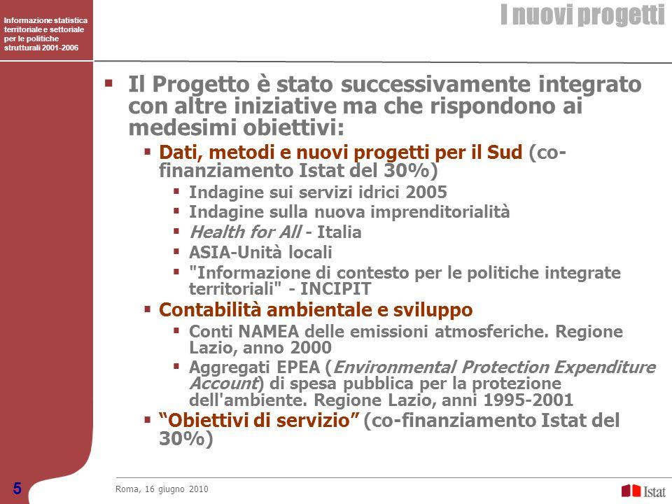 Informazione statistica territoriale e settoriale per le politiche strutturali 2001-2006 I principali prodotti/attività dei Progetti co-finanziati Roma, 16 giugno 2010 6