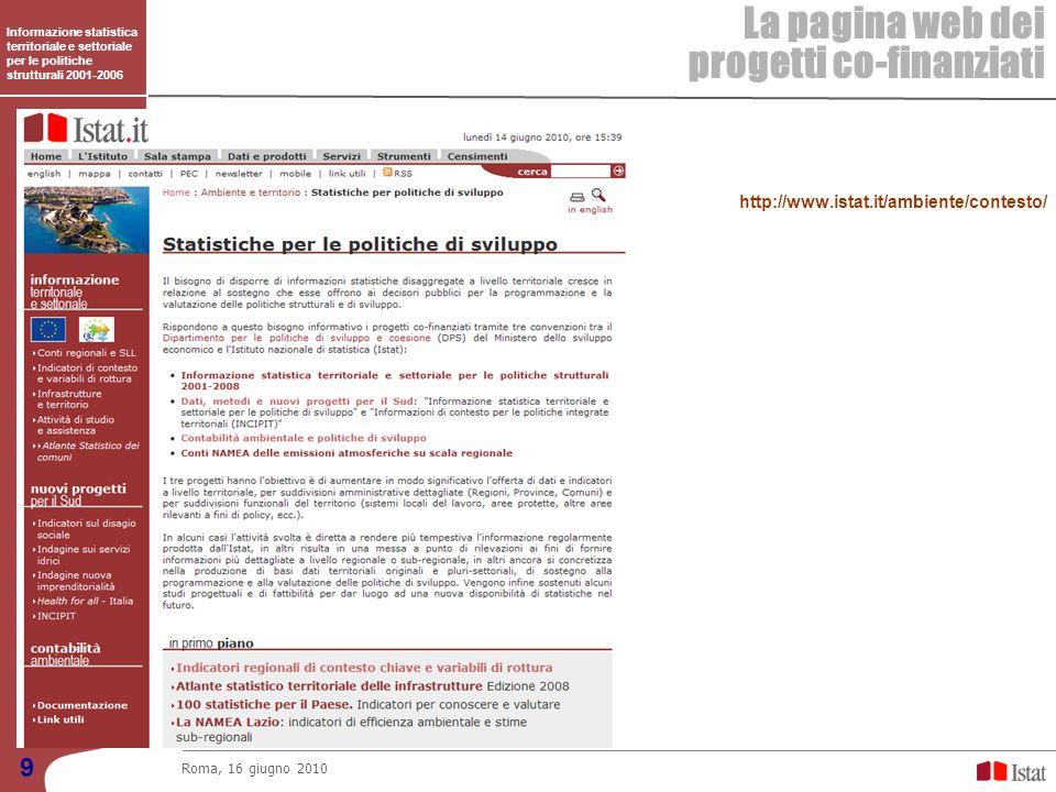 Informazione statistica territoriale e settoriale per le politiche strutturali 2001-2006 La pagina web dei progetti co-finanziati Roma, 16 giugno 2010 9 http://www.istat.it/ambiente/contesto/