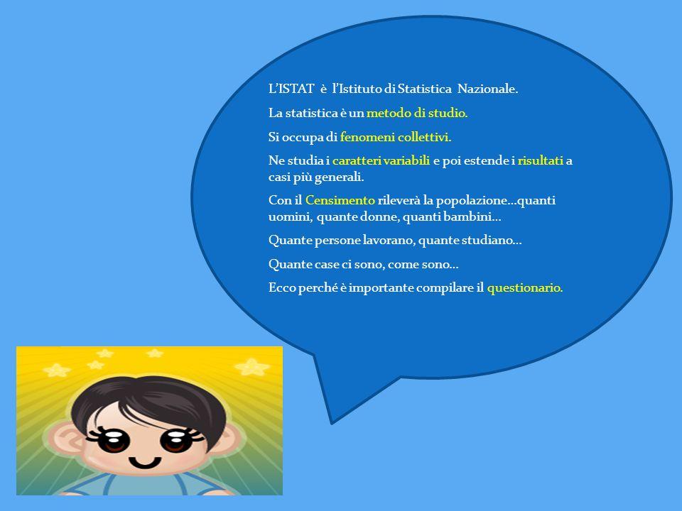 LISTAT è lIstituto di Statistica Nazionale. La statistica è un metodo di studio. Si occupa di fenomeni collettivi. Ne studia i caratteri variabili e p