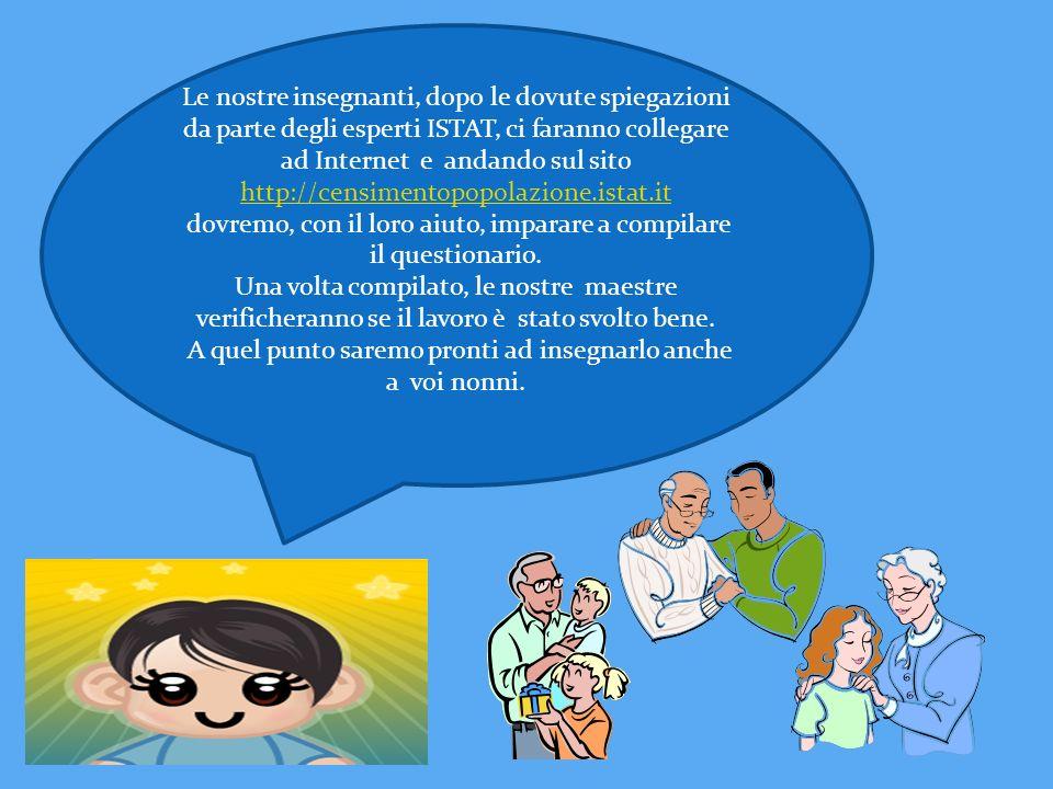 Le nostre insegnanti, dopo le dovute spiegazioni da parte degli esperti ISTAT, ci faranno collegare ad Internet e andando sul sito http://censimentopo