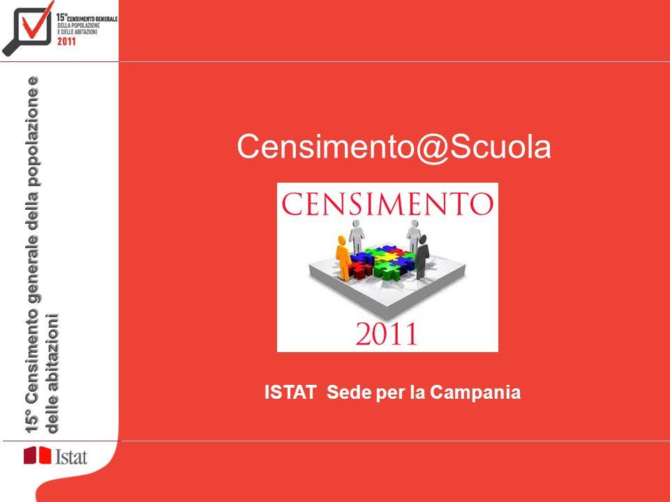 15° Censimento generale della popolazione e delle abitazioni Formazione rete di rilevazione Censimento@Scuola ISTAT Sede per la Campania