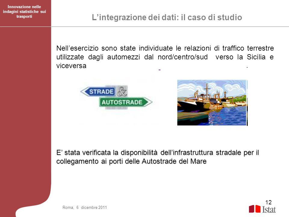 12 Nellesercizio sono state individuate le relazioni di traffico terrestre utilizzate dagli automezzi dal nord/centro/sud verso la Sicilia e viceversa