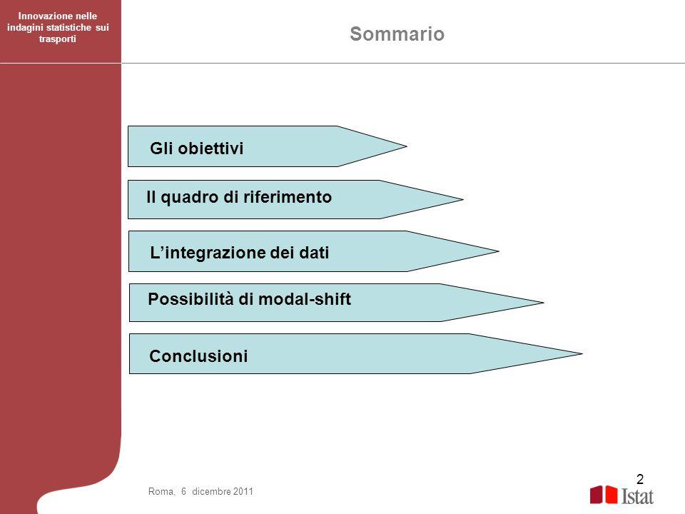 2 Gli obiettivi Il quadro di riferimento Lintegrazione dei dati Possibilità di modal-shift Sommario Conclusioni Roma, 6 dicembre 2011 Innovazione nell