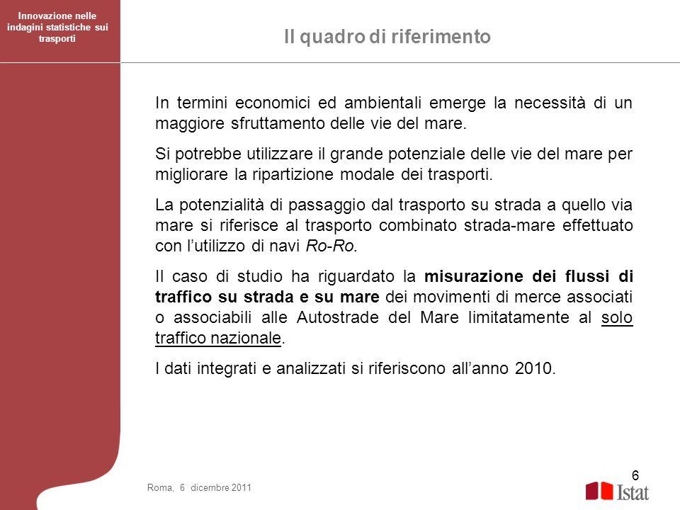 27 Roma, 6 dicembre 2011 Il caso di studio riguarda i soli flussi di traffico nazionali e due modalità di trasporto.