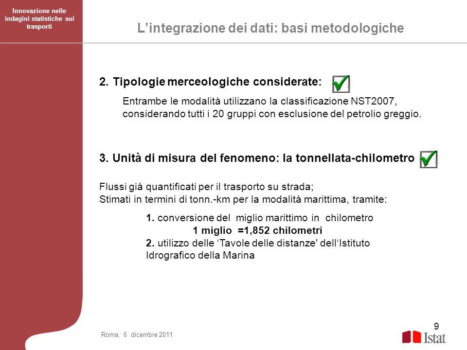 9 2. Tipologie merceologiche considerate: Entrambe le modalità utilizzano la classificazione NST2007, considerando tutti i 20 gruppi con esclusione de