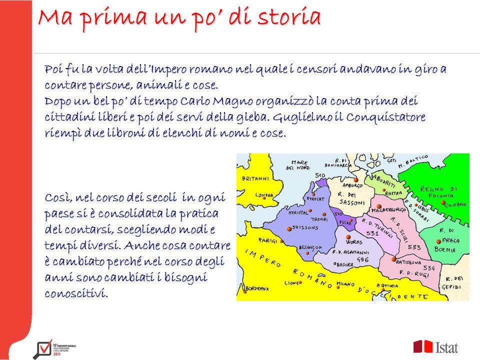 Ma prima un po di storia Poi fu la volta dellImpero romano nel quale i censori andavano in giro a contare persone, animali e cose. Dopo un bel po di t