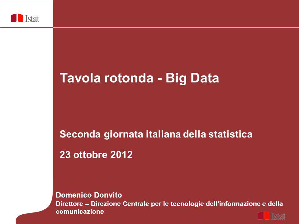 Tavola rotonda - Big Data Seconda giornata italiana della statistica 23 ottobre 2012 Domenico Donvito Direttore – Direzione Centrale per le tecnologie