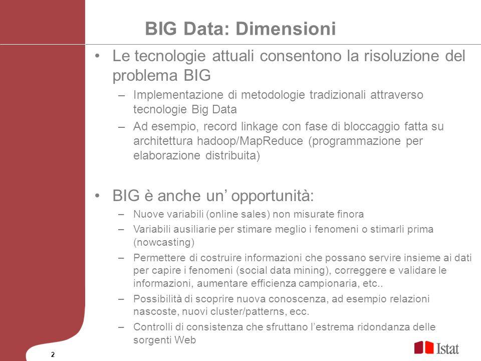 BIG Data: Dimensioni Le tecnologie attuali consentono la risoluzione del problema BIG –Implementazione di metodologie tradizionali attraverso tecnolog