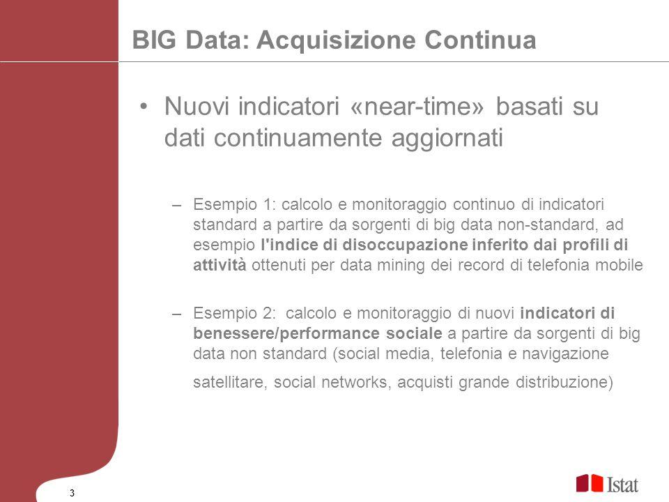 BIG Data: Acquisizione Continua Nuovi indicatori «near-time» basati su dati continuamente aggiornati –Esempio 1: calcolo e monitoraggio continuo di in