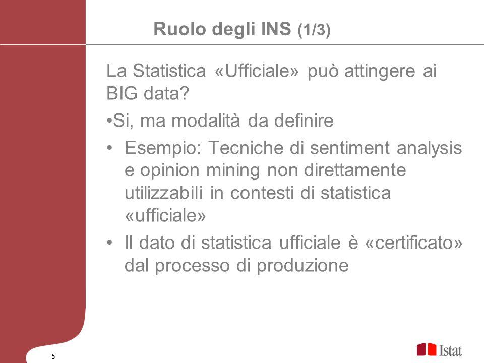Ruolo degli INS (1/3) La Statistica «Ufficiale» può attingere ai BIG data? Si, ma modalità da definire Esempio: Tecniche di sentiment analysis e opini