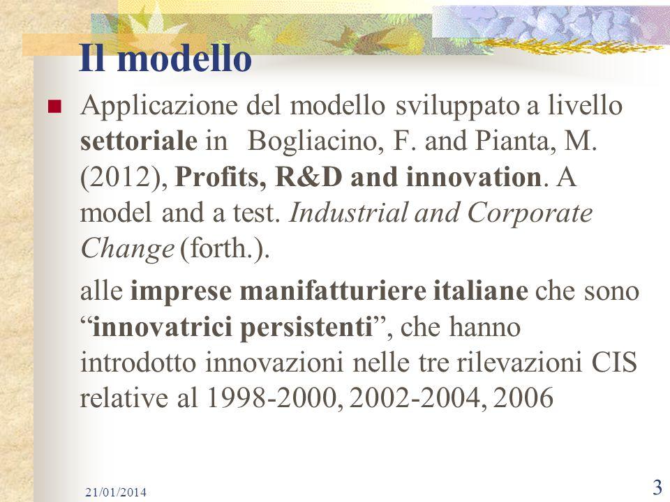 Il modello Applicazione del modello sviluppato a livello settoriale in Bogliacino, F.