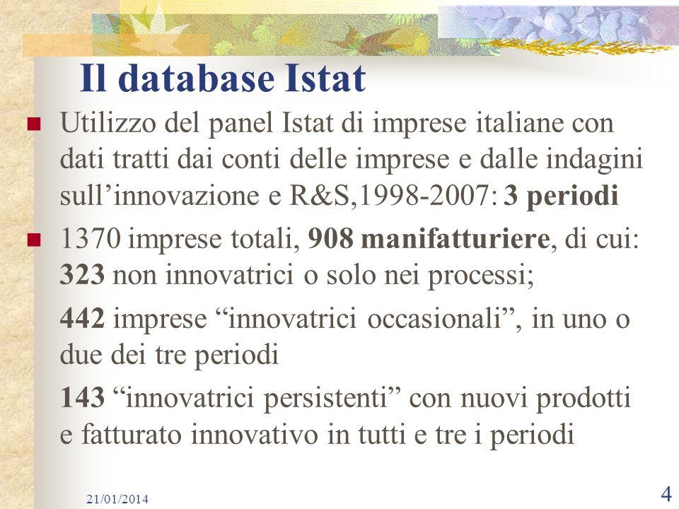 Il database Istat Utilizzo del panel Istat di imprese italiane con dati tratti dai conti delle imprese e dalle indagini sullinnovazione e R&S,1998-2007: 3 periodi 1370 imprese totali, 908 manifatturiere, di cui: 323 non innovatrici o solo nei processi; 442 imprese innovatrici occasionali, in uno o due dei tre periodi 143 innovatrici persistenti con nuovi prodotti e fatturato innovativo in tutti e tre i periodi 21/01/2014 4