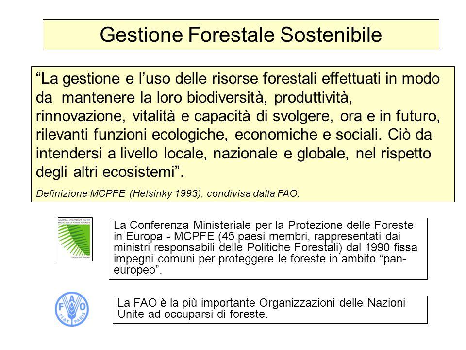 Gestione Forestale Sostenibile La gestione e luso delle risorse forestali effettuati in modo da mantenere la loro biodiversità, produttività, rinnovaz