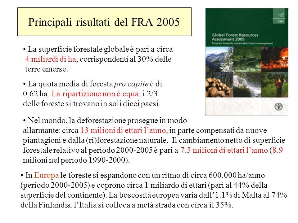 Principali risultati del FRA 2005 In Europa le foreste si espandono con un ritmo di circa 600.000 ha/anno (periodo 2000-2005) e coprono circa 1 miliar