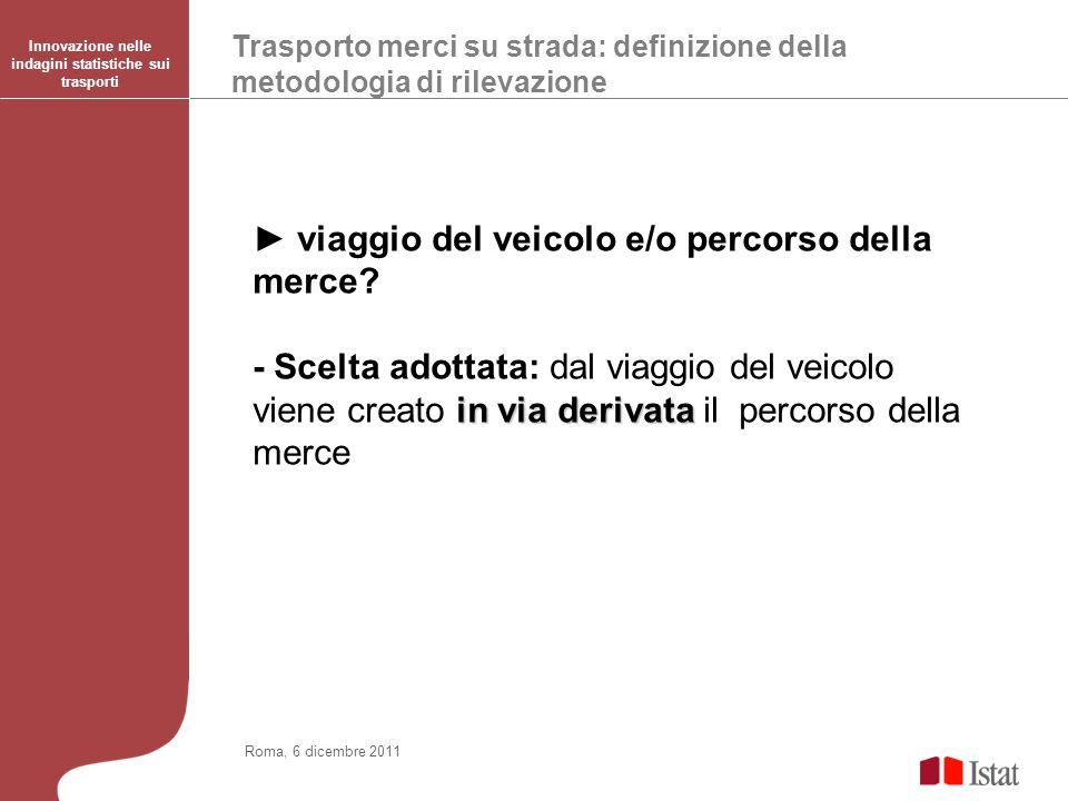 Trasporto merci su strada: definizione della metodologia di rilevazione Innovazione nelle indagini statistiche sui trasporti Roma, 6 dicembre 2011 viaggio del veicolo e/o percorso della merce.