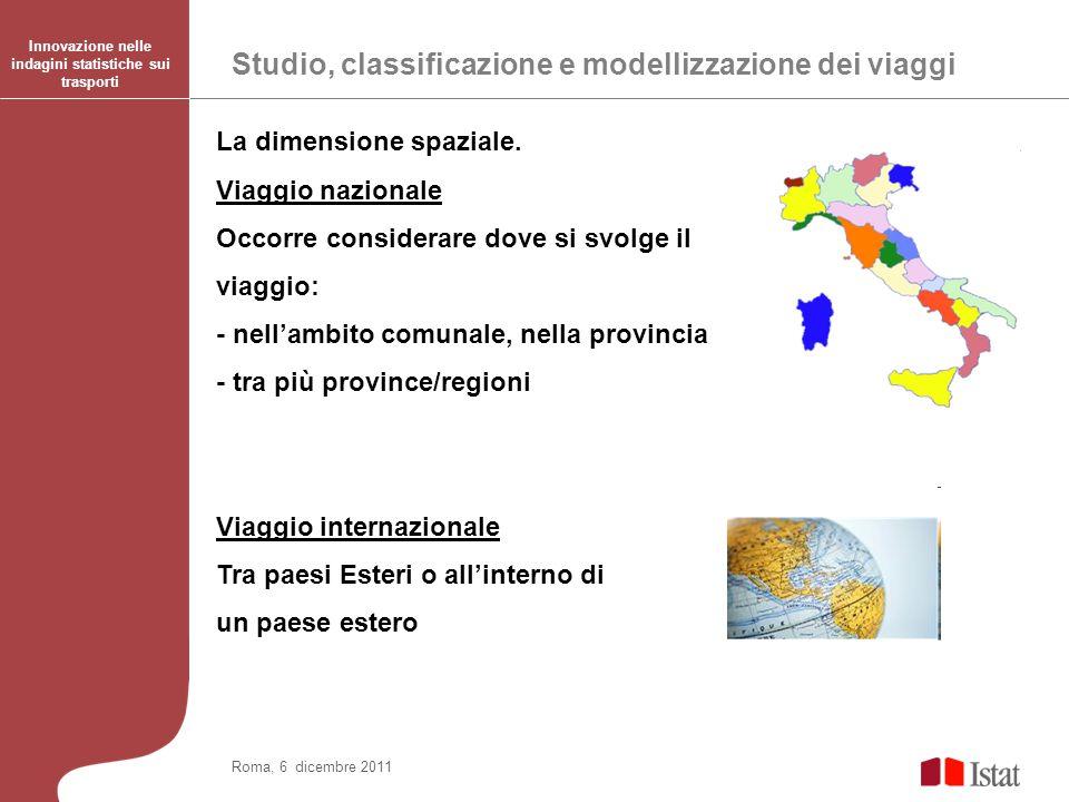 Studio, classificazione e modellizzazione dei viaggi Innovazione nelle indagini statistiche sui trasporti Roma, 6 dicembre 2011 La dimensione spaziale.