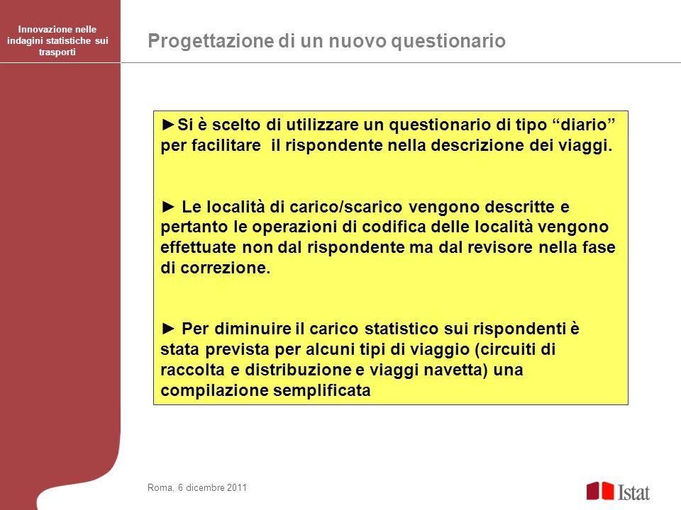 Progettazione di un nuovo questionario Innovazione nelle indagini statistiche sui trasporti Roma, 6 dicembre 2011 Si è scelto di utilizzare un questionario di tipo diario per facilitare il rispondente nella descrizione dei viaggi.