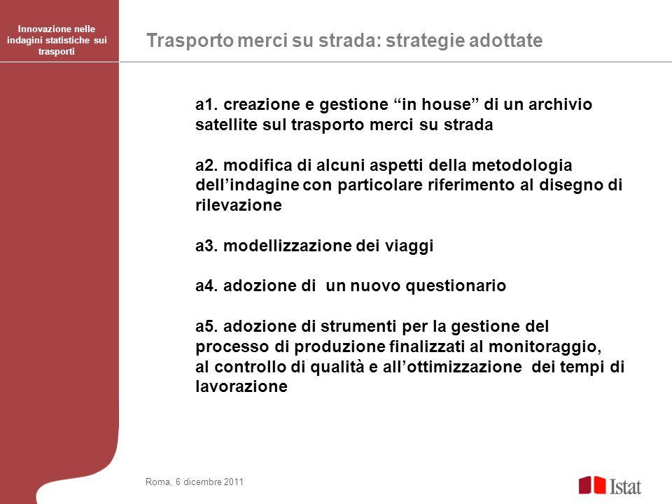 Trasporto merci su strada: strategie adottate Innovazione nelle indagini statistiche sui trasporti Roma, 6 dicembre 2011 a1.