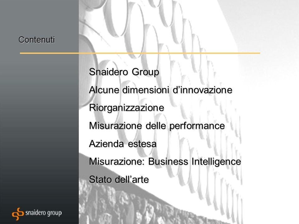 Snaidero Group Alcune dimensioni dinnovazione Riorganizzazione Misurazione delle performance Azienda estesa Misurazione: Business Intelligence Stato dellarte Contenuti
