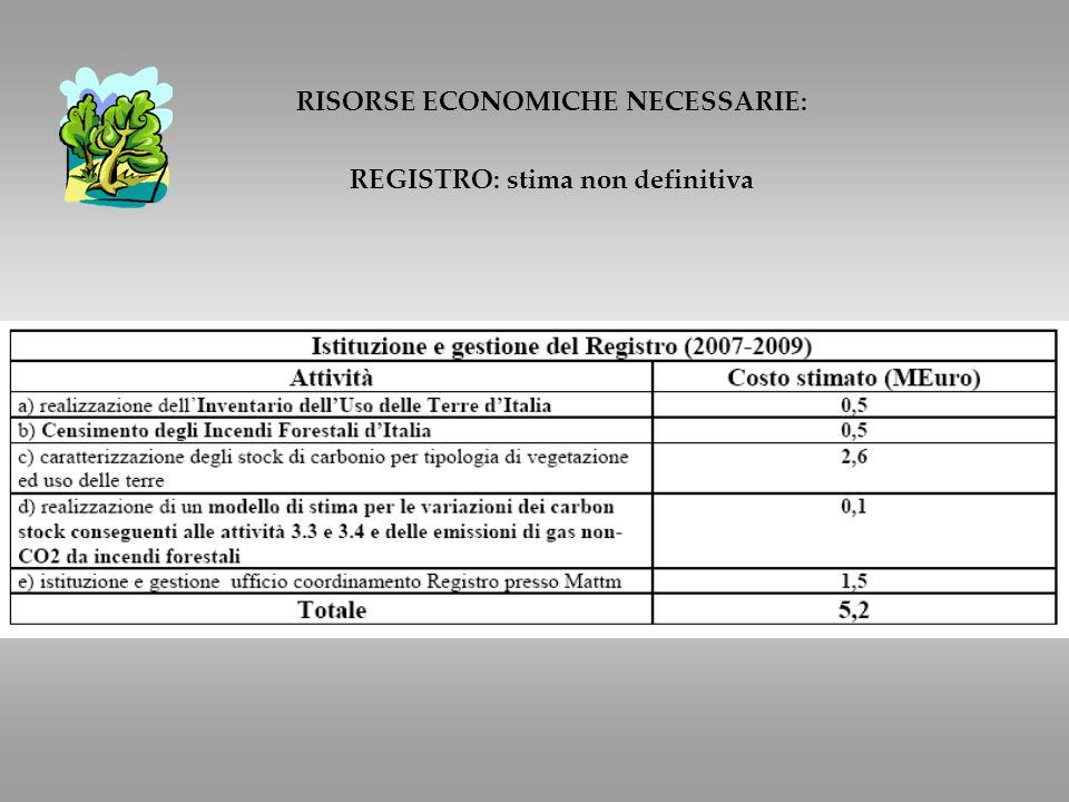 RISORSE ECONOMICHE NECESSARIE: REGISTRO: stima non definitiva
