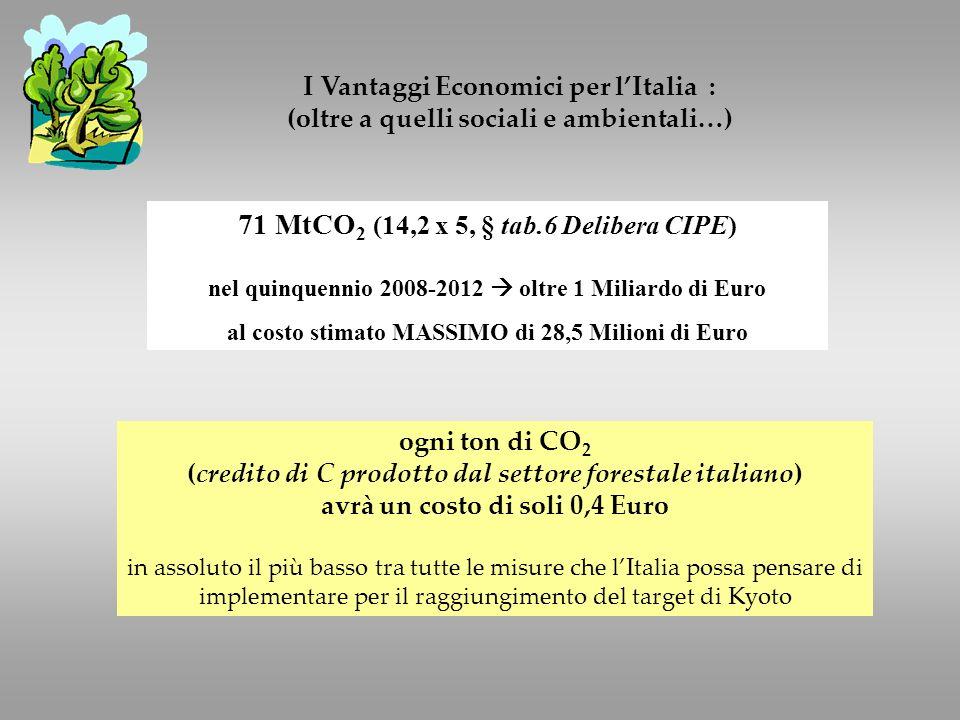 I Vantaggi Economici per lItalia : (oltre a quelli sociali e ambientali…) 71 MtCO 2 (14,2 x 5, § tab.6 Delibera CIPE) nel quinquennio 2008-2012 oltre 1 Miliardo di Euro al costo stimato MASSIMO di 28,5 Milioni di Euro ogni ton di CO 2 (credito di C prodotto dal settore forestale italiano) avrà un costo di soli 0,4 Euro in assoluto il più basso tra tutte le misure che lItalia possa pensare di implementare per il raggiungimento del target di Kyoto