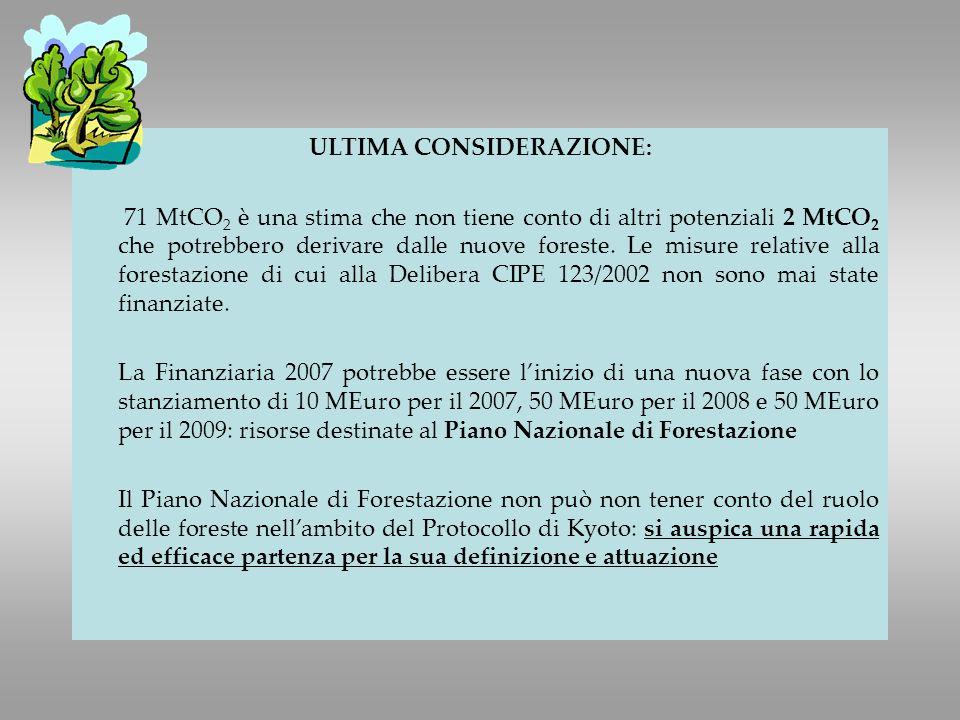 ULTIMA CONSIDERAZIONE: 71 MtCO 2 è una stima che non tiene conto di altri potenziali 2 MtCO 2 che potrebbero derivare dalle nuove foreste.