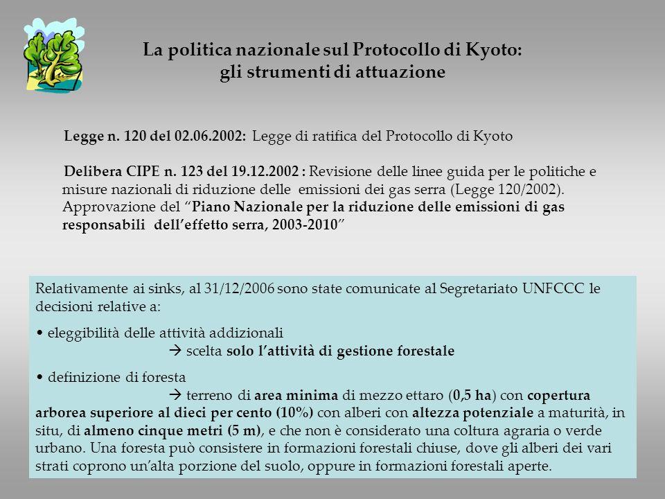Legge n. 120 del 02.06.2002: Legge di ratifica del Protocollo di Kyoto Delibera CIPE n.