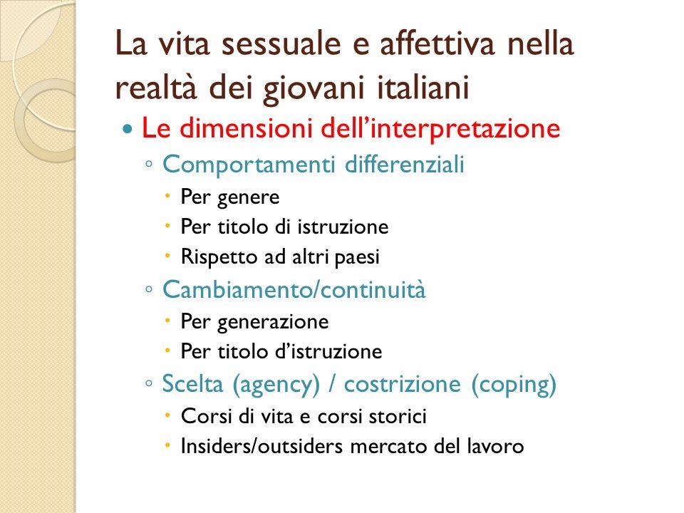 La vita sessuale e affettiva nella realtà dei giovani italiani Le dimensioni dellinterpretazione Comportamenti differenziali Per genere Per titolo di