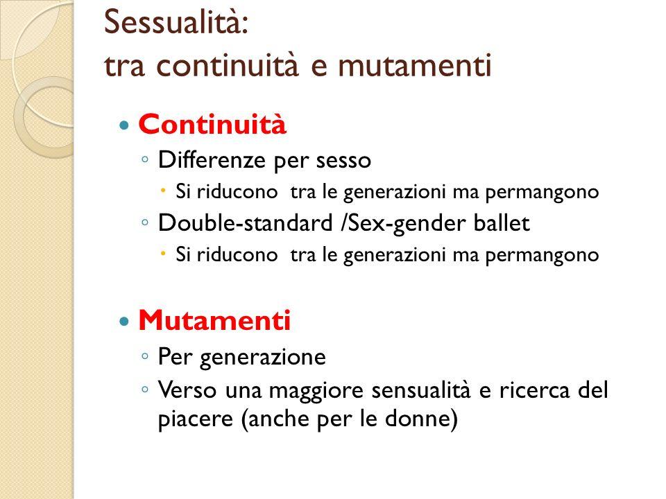 Sessualità: tra continuità e mutamenti Continuità Differenze per sesso Si riducono tra le generazioni ma permangono Double-standard /Sex-gender ballet