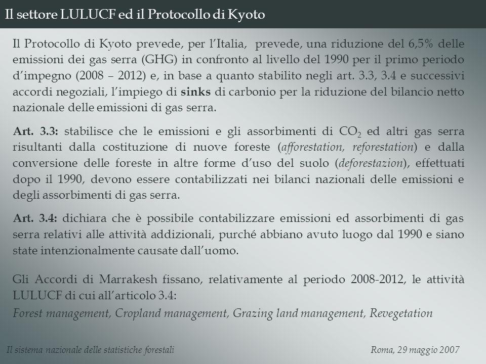 Il settore LULUCF ed il Protocollo di Kyoto Il Protocollo di Kyoto prevede, per lItalia, prevede, una riduzione del 6,5% delle emissioni dei gas serra (GHG) in confronto al livello del 1990 per il primo periodo dimpegno (2008 – 2012) e, in base a quanto stabilito negli art.