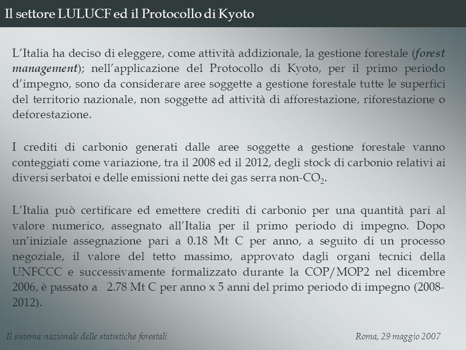 Il settore LULUCF ed il Protocollo di Kyoto LItalia ha deciso di eleggere, come attività addizionale, la gestione forestale ( forest management ); nel