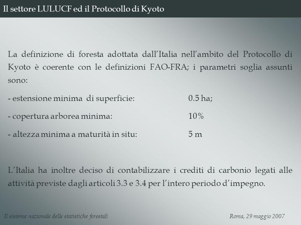 Il settore LULUCF ed il Protocollo di Kyoto La definizione di foresta adottata dallItalia nellambito del Protocollo di Kyoto è coerente con le definizioni FAO-FRA; i parametri soglia assunti sono: - estensione minima di superficie:0.5 ha; - copertura arborea minima:10% - altezza minima a maturità in situ: 5 m LItalia ha inoltre deciso di contabilizzare i crediti di carbonio legati alle attività previste dagli articoli 3.3 e 3.4 per lintero periodo dimpegno.