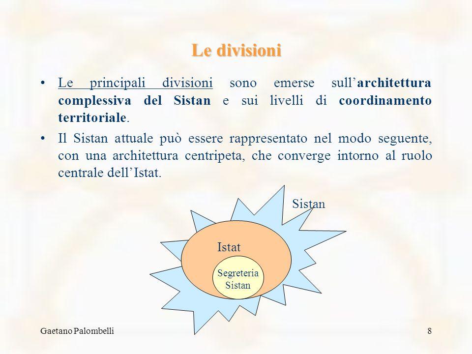Gaetano Palombelli8 Le divisioni Le principali divisioni sono emerse sullarchitettura complessiva del Sistan e sui livelli di coordinamento territoriale.