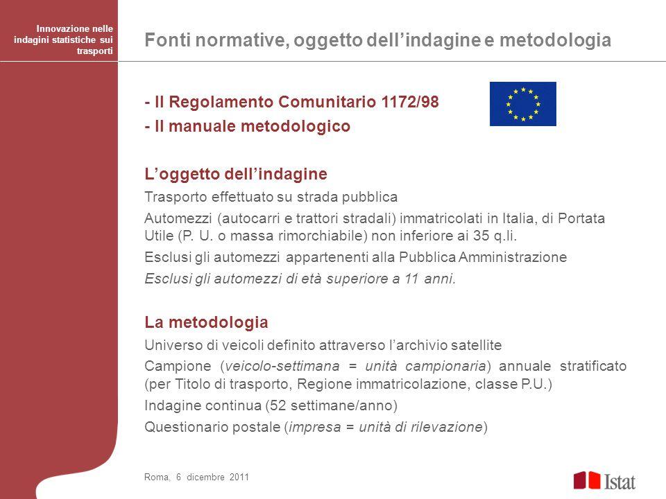 Larchivio satellite TMS: analisi della struttura Roma, 6 dicembre 2011 Innovazione nelle indagini statistiche sui trasporti
