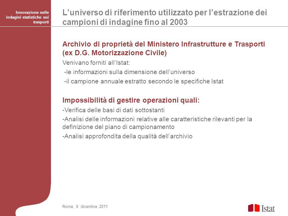Luniverso di riferimento utilizzato per lestrazione dei campioni di indagine fino al 2003 Innovazione nelle indagini statistiche sui trasporti Roma, 6 dicembre 2011 Archivio di proprietà del Ministero Infrastrutture e Trasporti (ex D.G.
