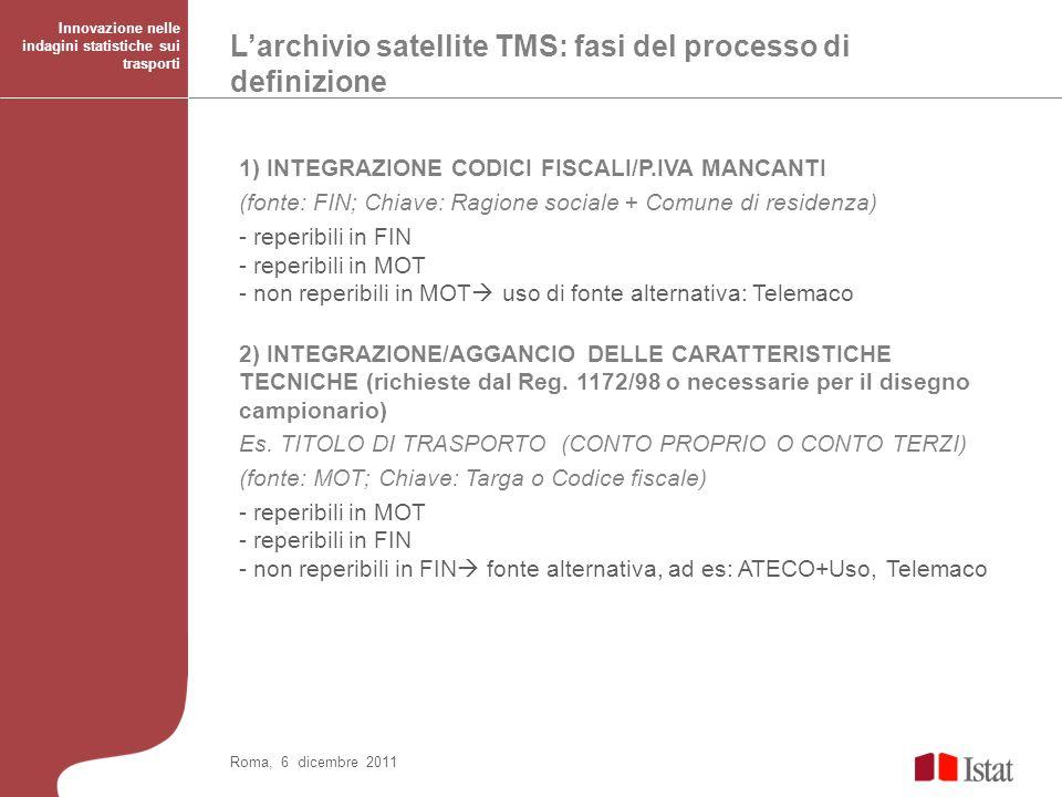 Larchivio satellite TMS: fasi per la creazione dellArchivio Innovazione nelle indagini statistiche sui trasporti Roma, 6 dicembre 2011 3) TRATTAMENTO UNITA IN LEASING - identificazione - attribuzione anagrafica locatario (informazioni reperibili in MOT) 4) ELIMINAZIONE DELLE UNITA FUORI CAMPO DI OSSERVAZIONE O NON ESISTENTI - veicoli di proprietà della Pubblica Amministrazione (da ASIP, Telemaco) - impresa fuori campo di osservazione (ambulanti, giostrai etc da informazioni desunte dallarchivio satellite elaborato per gli anni precedenti) - impresa inattiva (fallimento da FIN/Telemaco, cessazione da Telemaco e da informazioni desunte dallarchivio satellite elaborato per gli anni precedenti) - veicoli fuori campo di osservazione (tipologie escluse da MOT/FIN) - veicoli inesistenti (rottamati/rubati/sequestrati da MOT/SISCONT, esenti da Min.