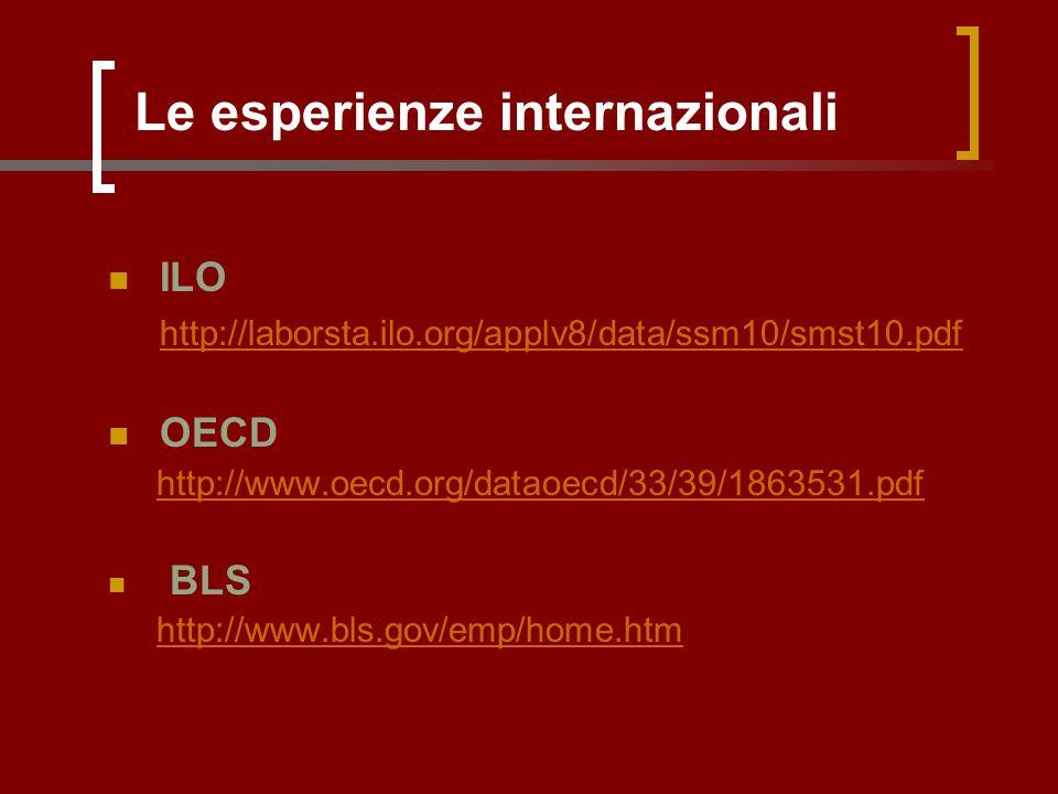 Le esperienze internazionali ILO http://laborsta.ilo.org/applv8/data/ssm10/smst10.pdf OECD http://www.oecd.org/dataoecd/33/39/1863531.pdf BLS http://www.bls.gov/emp/home.htm
